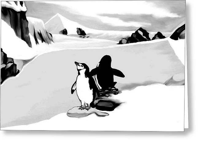 Straps Drawings Greeting Cards - Chin Strap Penguins Greeting Card by Anthony Seeker