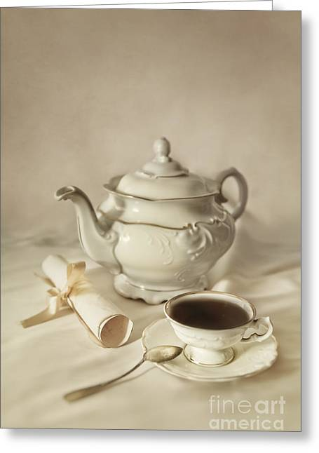 Metal Sheet Greeting Cards - Tea time Greeting Card by Jaroslaw Blaminsky