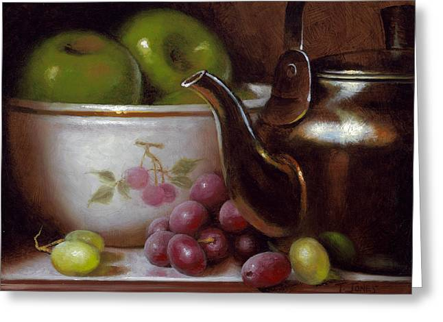 Old Masters Greeting Cards - China Bowl and Teapot Greeting Card by Timothy Jones
