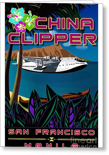 China Clippers Greeting Cards - CHINA Clipper Greeting Card by Christopher Williams