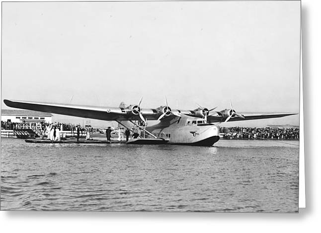 American Airways Greeting Cards - China Clipper Seaplane Greeting Card by Underwood Archives