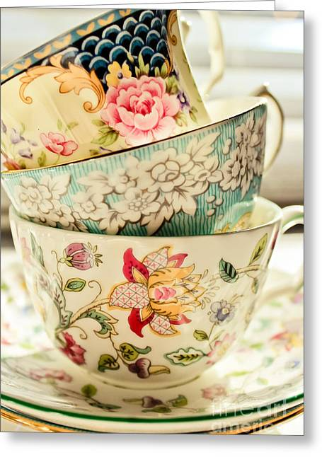 Gilding Greeting Cards - China Cups Greeting Card by Colleen Kammerer