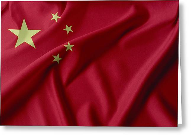 Shiny Fabric Greeting Cards - China flag  Greeting Card by Les Cunliffe