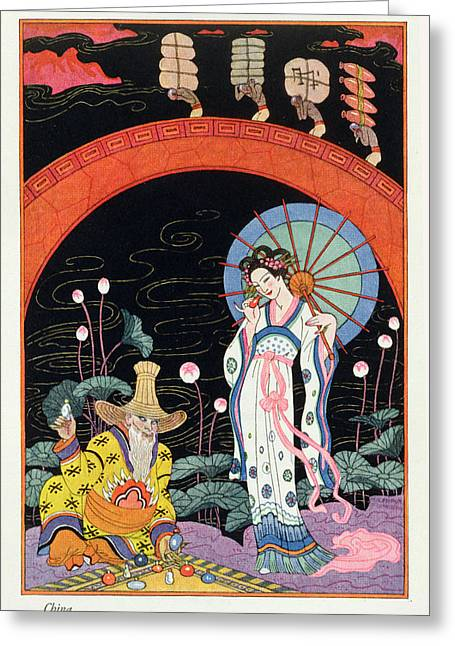 Stencil Art Greeting Cards - China Greeting Card by Georges Barbier
