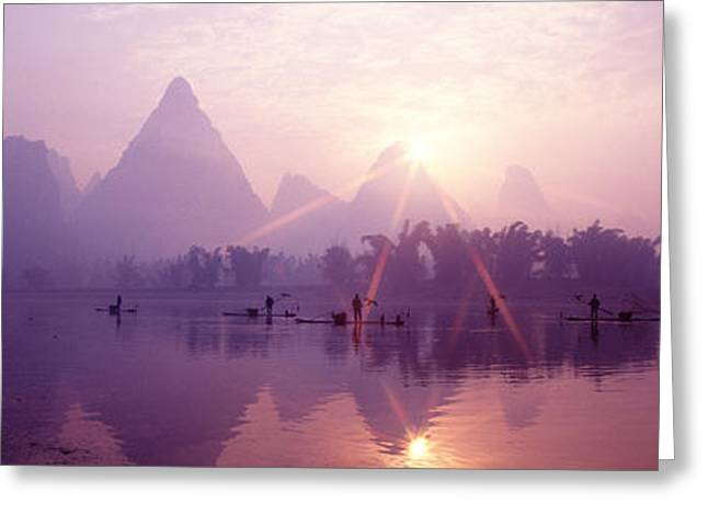 Haze Greeting Cards - China, Guilin, Fishermen Greeting Card by Panoramic Images