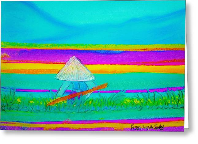 Field Worker Pastels Greeting Cards - China Horticulturalist in Field  Greeting Card by Peggy Leyva Conley