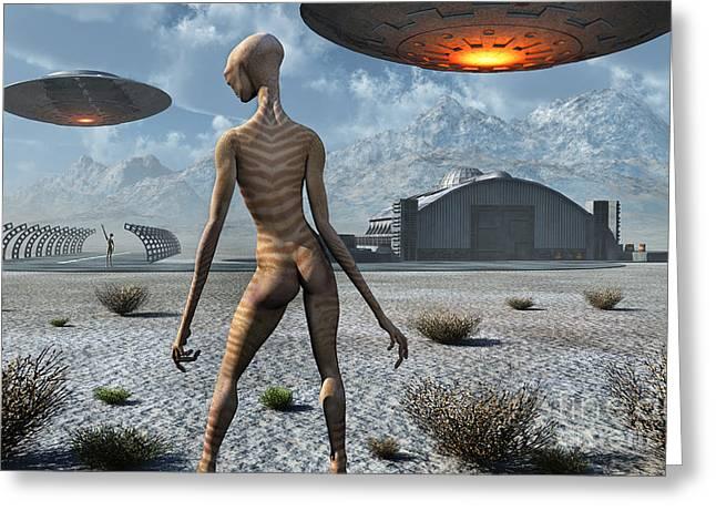 Skinny Greeting Cards - China Lake Military Base Where Aliens Greeting Card by Mark Stevenson