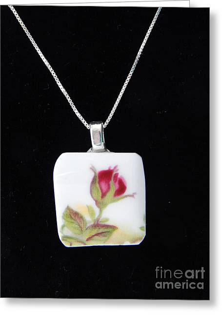 Roses Jewelry Greeting Cards - China Rose Pendant Greeting Card by Patricia  Tierney