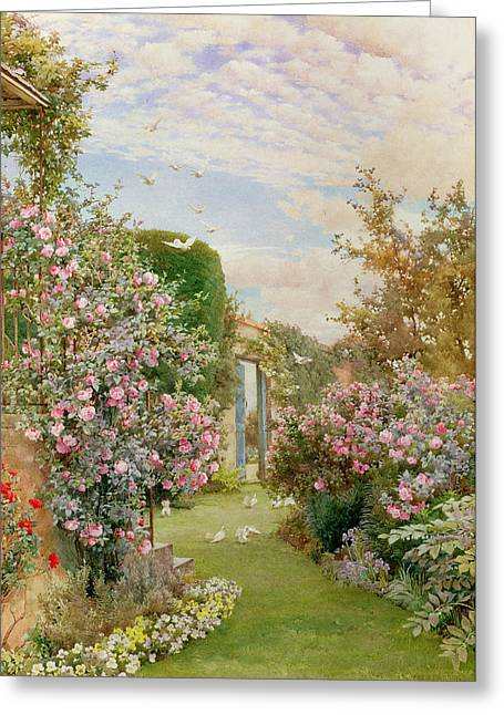 Secret Gardens Greeting Cards - China Roses Greeting Card by Alfred Parsons