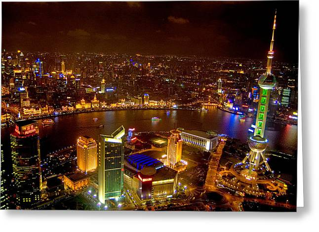 Building Exterior Photographs Greeting Cards - China Shanghai At Night  Greeting Card by Anonymous