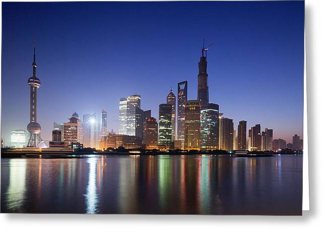 China, Shanghai, Glow Of Twilight Greeting Card by Paul Souders