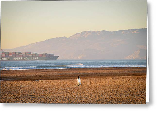 China Beach Greeting Cards - China Shipping Line Greeting Card by Maria Perry