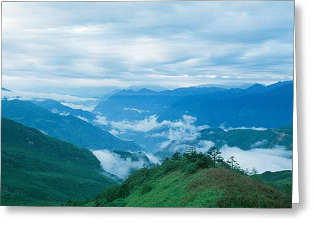 Sichuan Province Greeting Cards - China, Sichuan, Cloud Forest Greeting Card by Panoramic Images
