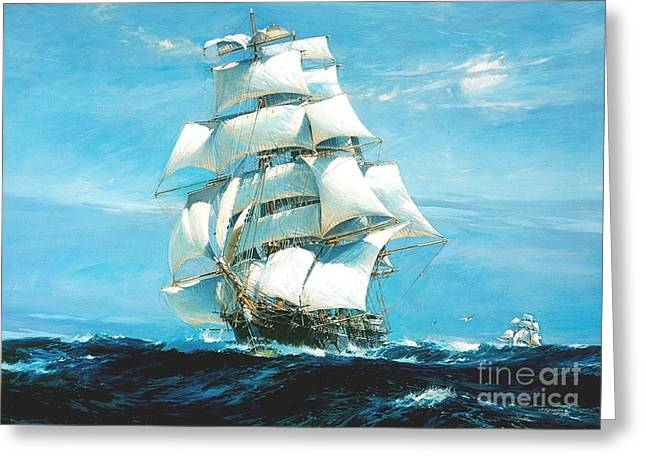 China Clippers Greeting Cards - China Tea Clippers Greeting Card by Pg Reproductions