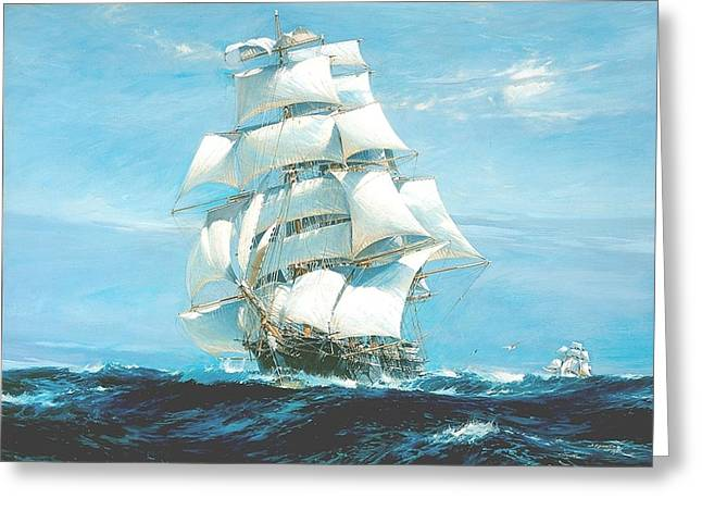 Recently Sold -  - Water Vessels Greeting Cards - China Tea Clippers Race Greeting Card by Jack Spurling