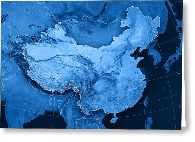 China Topographic Map Greeting Card by Frank Ramspott