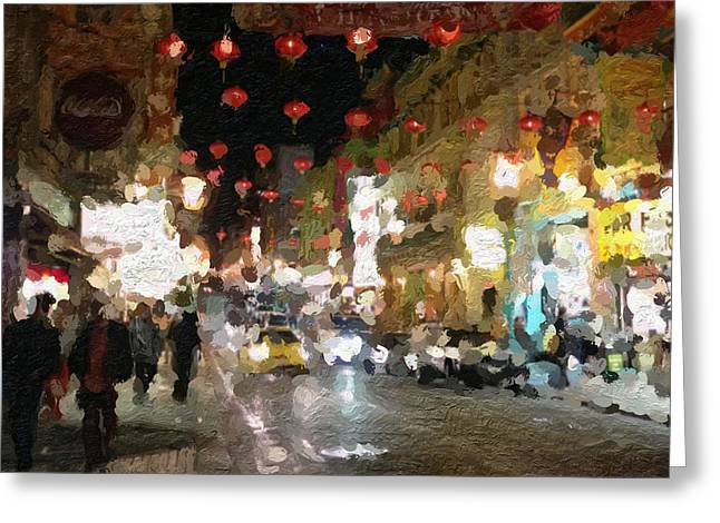 Town Mixed Media Greeting Cards - China Town At Night Greeting Card by Linda Woods