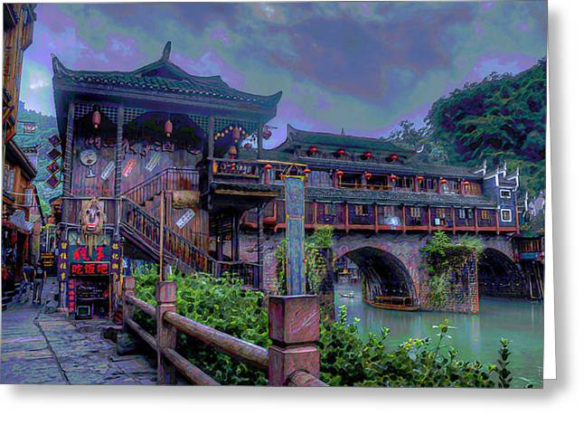 Stream Digital Art Greeting Cards - China Town Greeting Card by  Fli Art