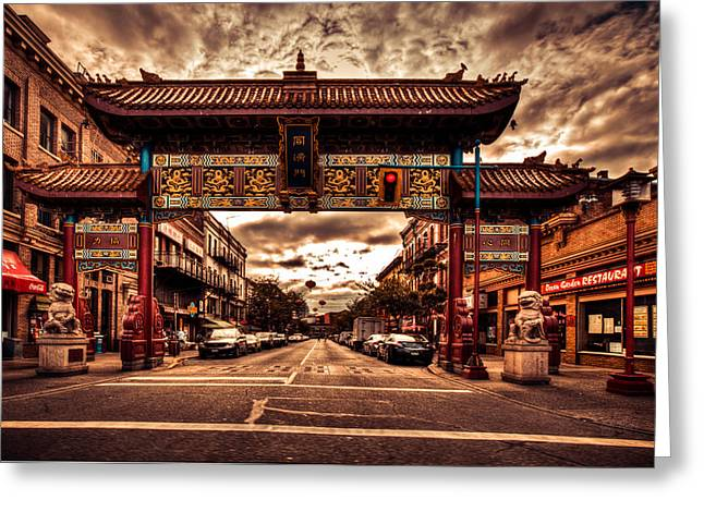 North Vancouver Digital Greeting Cards - China town Victoria Greeting Card by Eti Reid