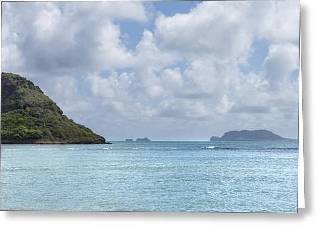 Brianharig Greeting Cards - Chinamans Hat Panorama - Oahu Hawaii Greeting Card by Brian Harig