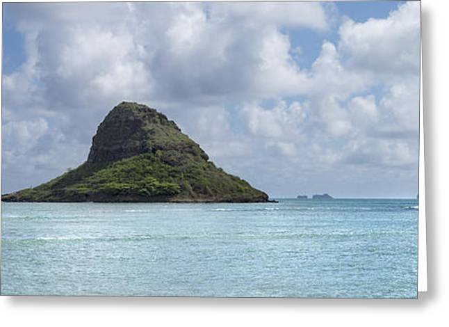 Chinamans Hat Panorama - Oahu Hawaii Greeting Card by Brian Harig