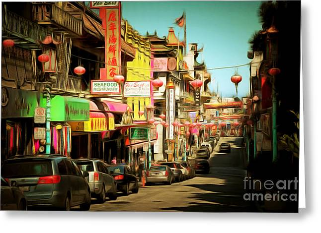 Chinese Shop Greeting Cards - Chinatown Gate on Grant Avenue in San Francisco 7D7175brun Greeting Card by Wingsdomain Art and Photography
