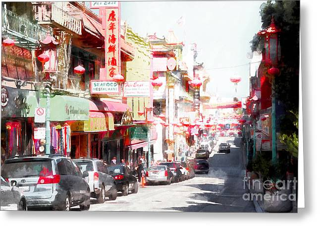 Chinese Shop Greeting Cards - Chinatown Gate on Grant Avenue in San Francisco 7D7175wcstyle Greeting Card by Wingsdomain Art and Photography