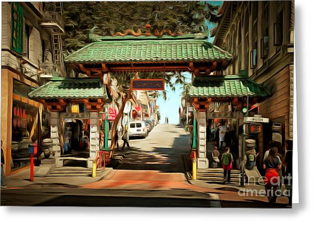 Grant Street Greeting Cards - Chinatown Gate on Grant Avenue in San Francisco 7D7193brun Greeting Card by Wingsdomain Art and Photography