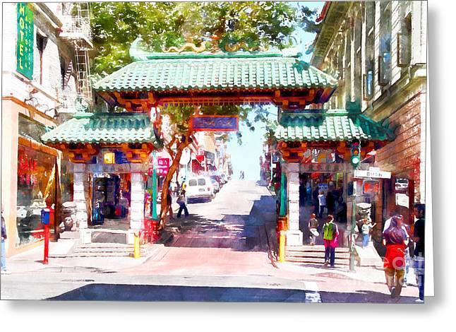 Chinese Shop Greeting Cards - Chinatown Gate on Grant Avenue in San Francisco 7D7193wcstyle Greeting Card by Wingsdomain Art and Photography