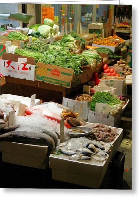 Fresh Food Greeting Cards - Chinatown In New York City Greeting Card by Dan Sproul