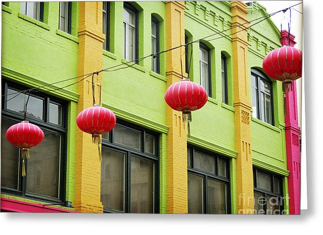San Francisco Cali Greeting Cards - Chinatown Lanterns I Greeting Card by Chris Andruskiewicz