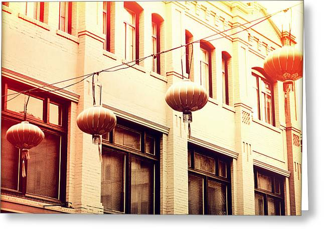 San Francisco Cali Greeting Cards - Chinatown Lanterns II Greeting Card by Chris Andruskiewicz