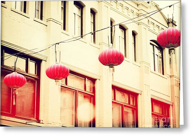 San Francisco Cali Greeting Cards - Chinatown Lanterns III Greeting Card by Chris Andruskiewicz