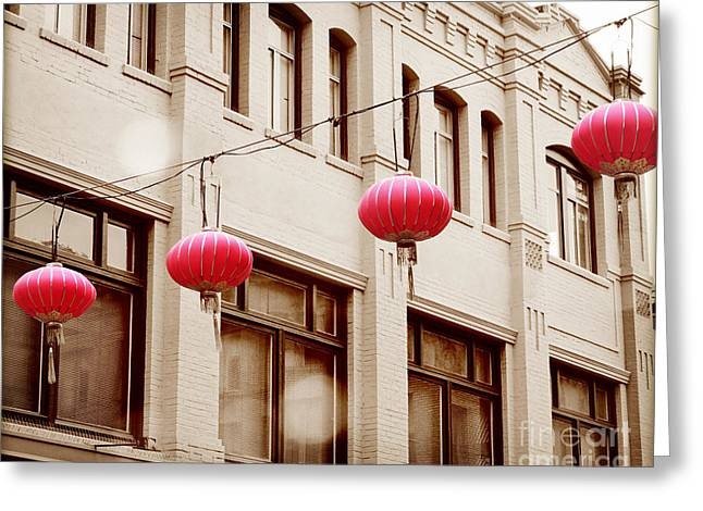 San Francisco Cali Greeting Cards - Chinatown Lanterns IIII Greeting Card by Chris Andruskiewicz
