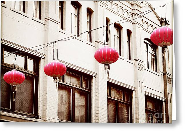 San Francisco Cali Greeting Cards - Chinatown Lanterns V Greeting Card by Chris Andruskiewicz