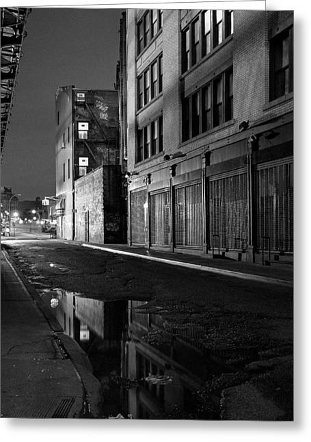 Puddle Greeting Cards - Chinatown New York City - Forsythe street Greeting Card by Gary Heller