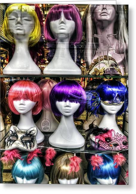 Display Dummy Greeting Cards - Chinatown San Francisco Colorful Wigs on Female Mannequin Heads  Greeting Card by The  Vault - Jennifer Rondinelli Reilly