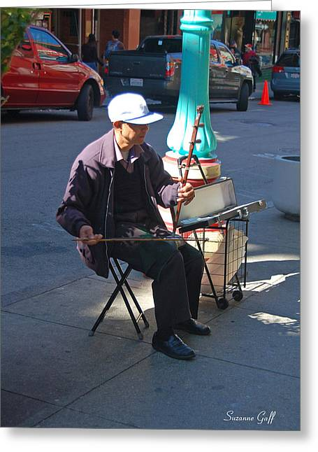 Streetlight Greeting Cards - Chinatown San Francisco - Traditional Street Music Greeting Card by Suzanne Gaff