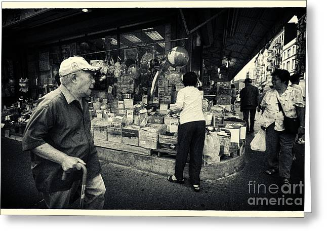 Grocery Store Greeting Cards - Chinatown Streetlife New York City Greeting Card by Sabine Jacobs