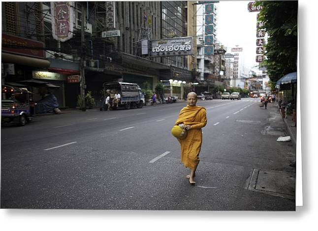 Monk-religious Occupation Greeting Cards - Chinatown Walk Greeting Card by David Longstreath