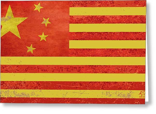 Politics Prints Greeting Cards - Chinese American Flag Greeting Card by Tony Rubino