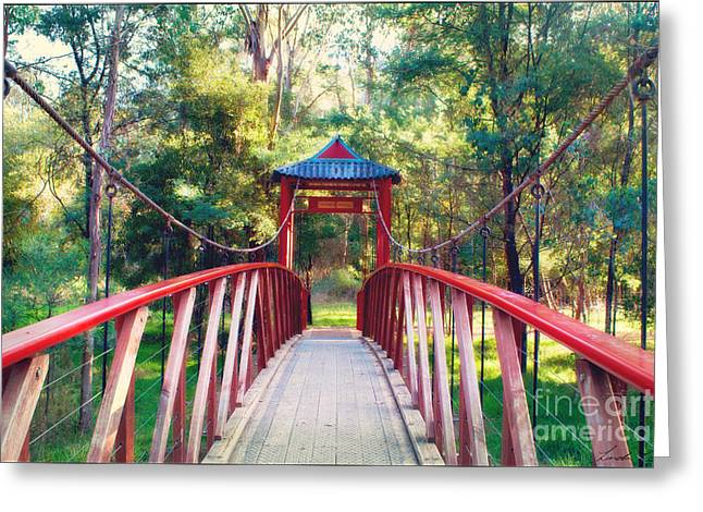 Lindalees Greeting Cards - Chinese Bridge Wandiligong Greeting Card by Linda Lees