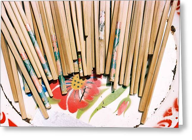 Mealtime Greeting Cards - Chinese Chopsticks on a Colorful Plate Greeting Card by Dean Harte