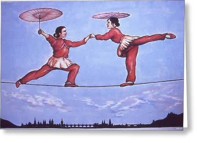 Acrobat Image Greeting Cards - Chinese Circus - Oil Painting Greeting Card by Peter Fine Art Gallery  - Paintings Photos Digital Art