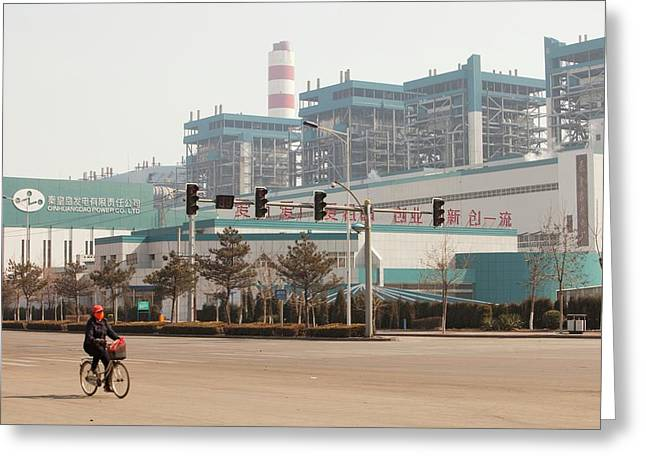 Chinese Coal Fired Power Station Greeting Card by Ashley Cooper