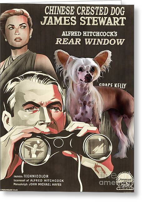 Rear Window Greeting Cards - Chinese Crested Art - Rear Window Movie Poster Greeting Card by Sandra Sij