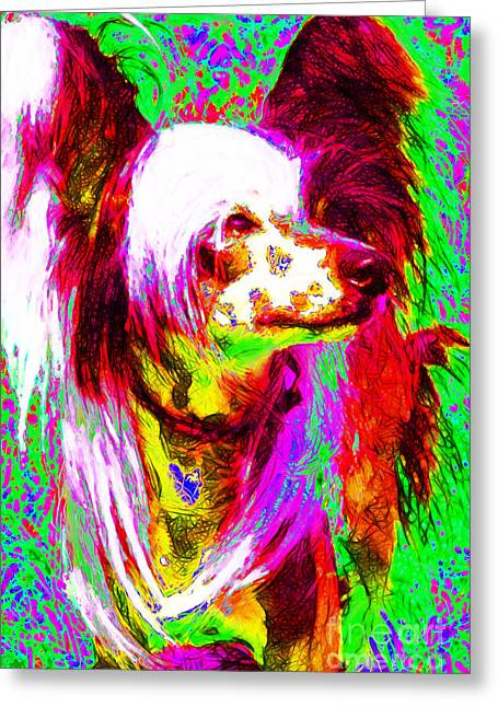 Happy Dogs Cute Dogs Greeting Cards - Chinese Crested Dog 20130125v2 Greeting Card by Wingsdomain Art and Photography