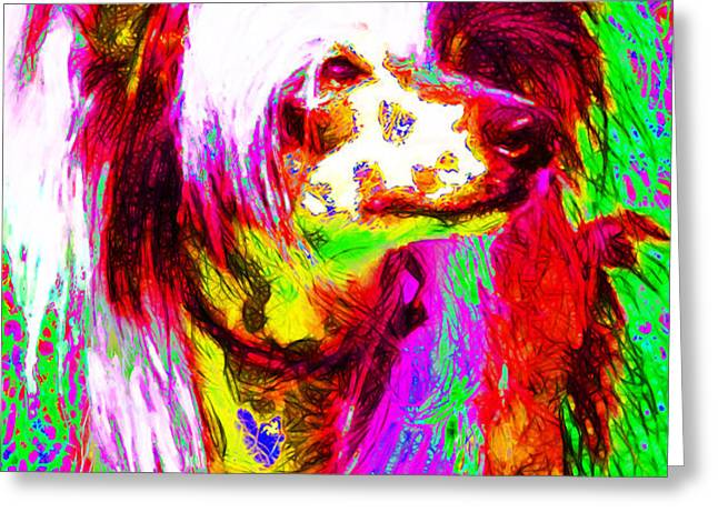 Chinese Crested Dog 20130125v2 Greeting Card by Wingsdomain Art and Photography