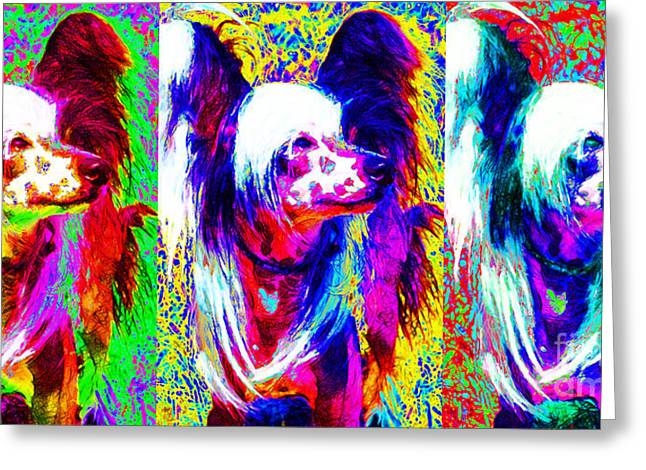 Happy Dogs Cute Dogs Greeting Cards - Chinese Crested Dog Three 20130125 Greeting Card by Wingsdomain Art and Photography