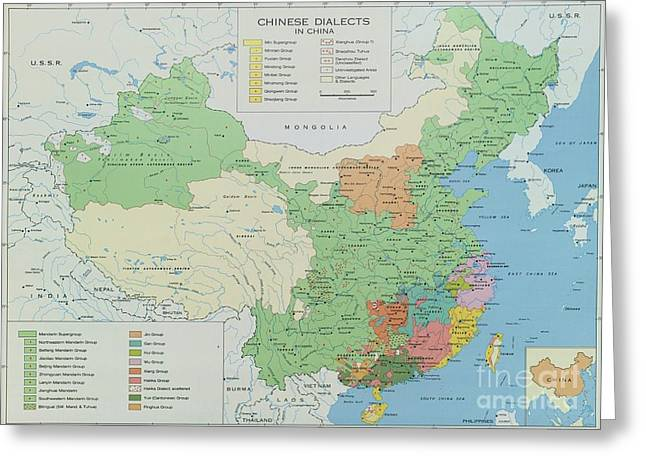 Conversations Drawings Greeting Cards - Chinese Dialects Map Greeting Card by Pg Reproductions